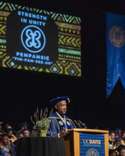 Chancellor May speaks at the UC Davis Black Graduation at the Mondavi Center for the Performing Arts on June 16, 2019.