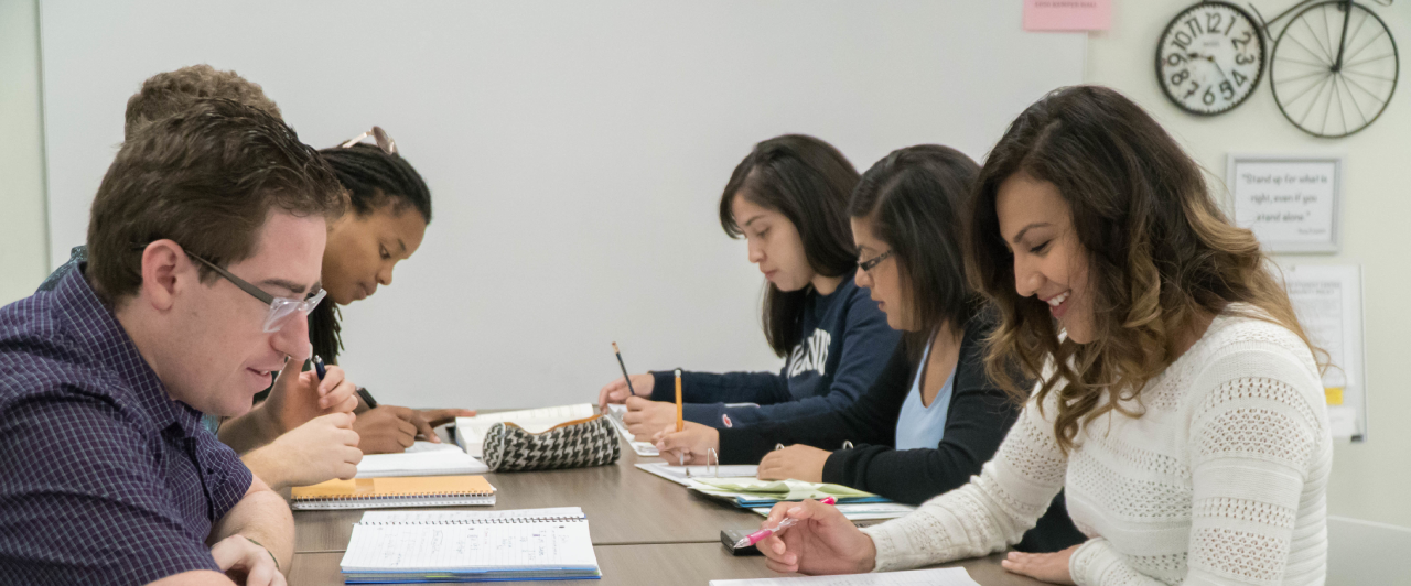 Students studying at the LEADR Student Center