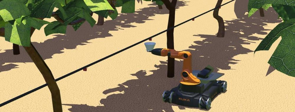 A rendering of the autonomous drip irrigation measuring robot collecting samples in a vineyard.