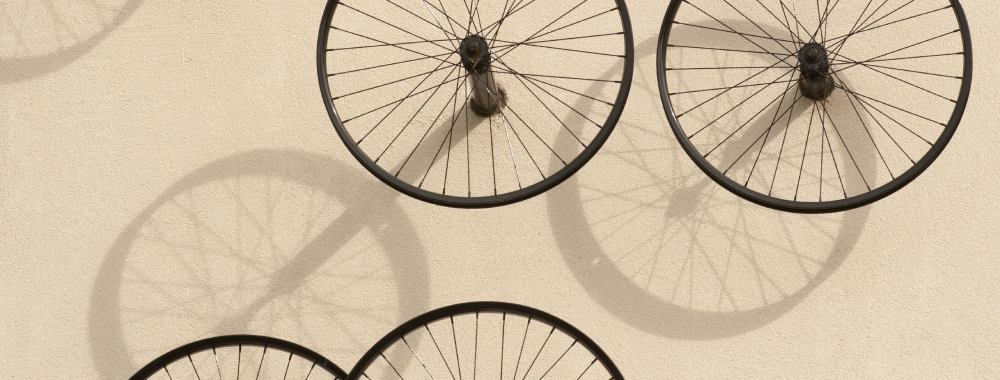 Bicycle wheels at the Tercero student housing area