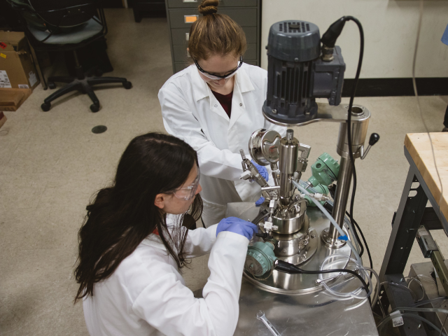 Graduate students working in a lab