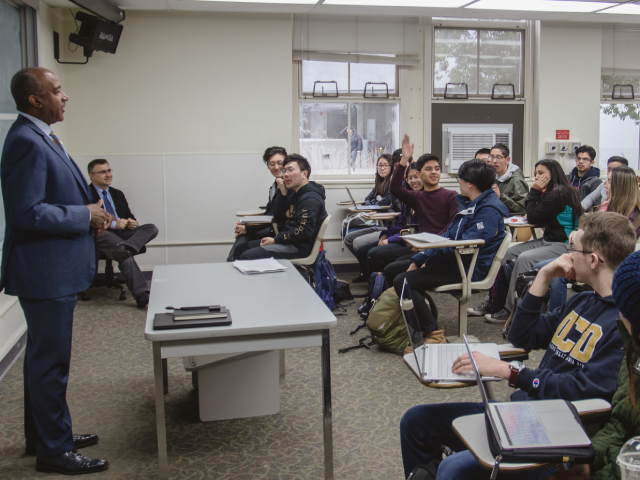 "UC Davis Chancellor Gary May visits Professor Ricardo Castro's ""Science of Superheroes"" class to chat with students"